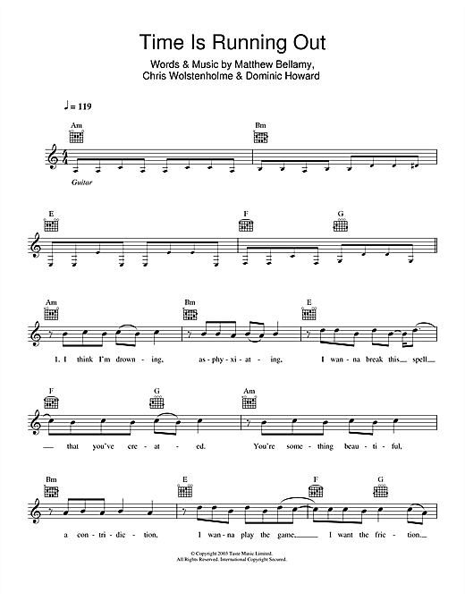 Muse Time Is Running Out sheet music notes and chords. Download Printable PDF.