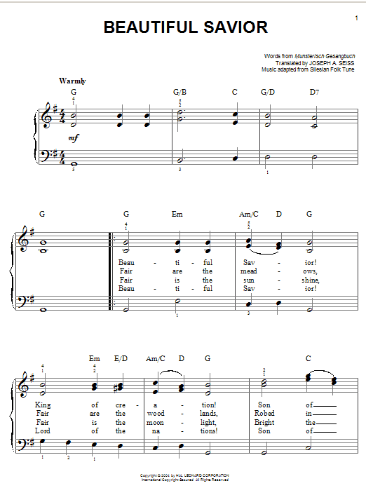 Musterisch Gesangbuch Beautiful Savior sheet music notes and chords. Download Printable PDF.