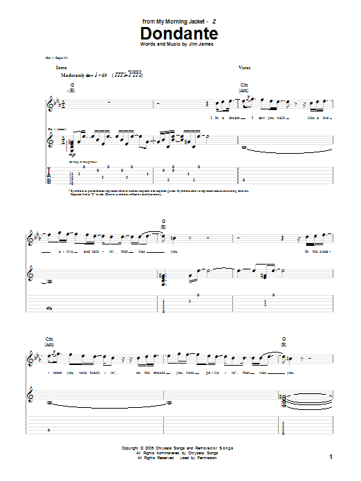 My Morning Jacket Dondante sheet music notes and chords. Download Printable PDF.