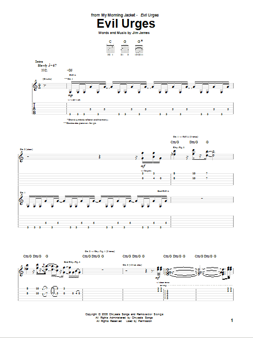 My Morning Jacket Evil Urges sheet music notes and chords. Download Printable PDF.