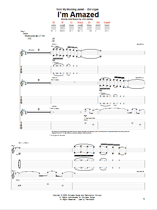 My Morning Jacket I'm Amazed sheet music notes and chords. Download Printable PDF.