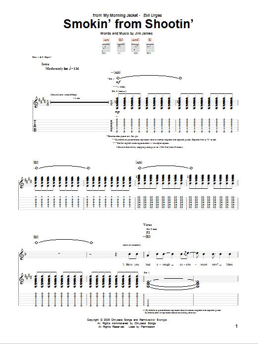 My Morning Jacket Smokin' From Shootin' sheet music notes and chords. Download Printable PDF.