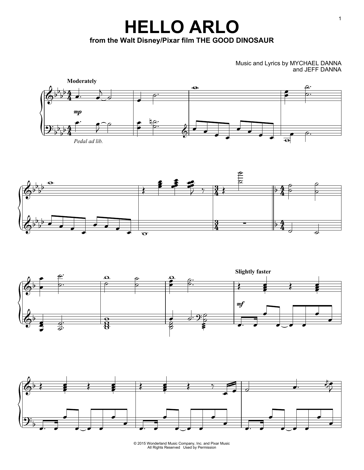 Mychael & Jeff Danna Hello Arlo sheet music notes and chords. Download Printable PDF.