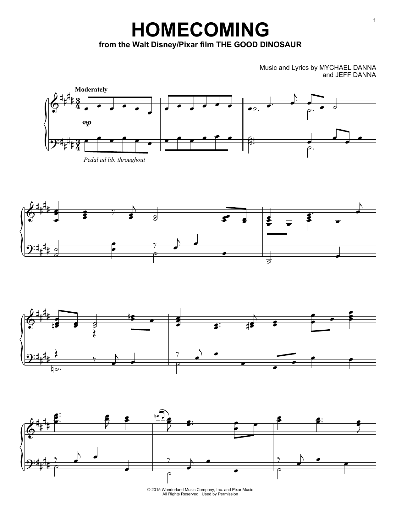 Mychael & Jeff Danna Homecoming sheet music notes and chords