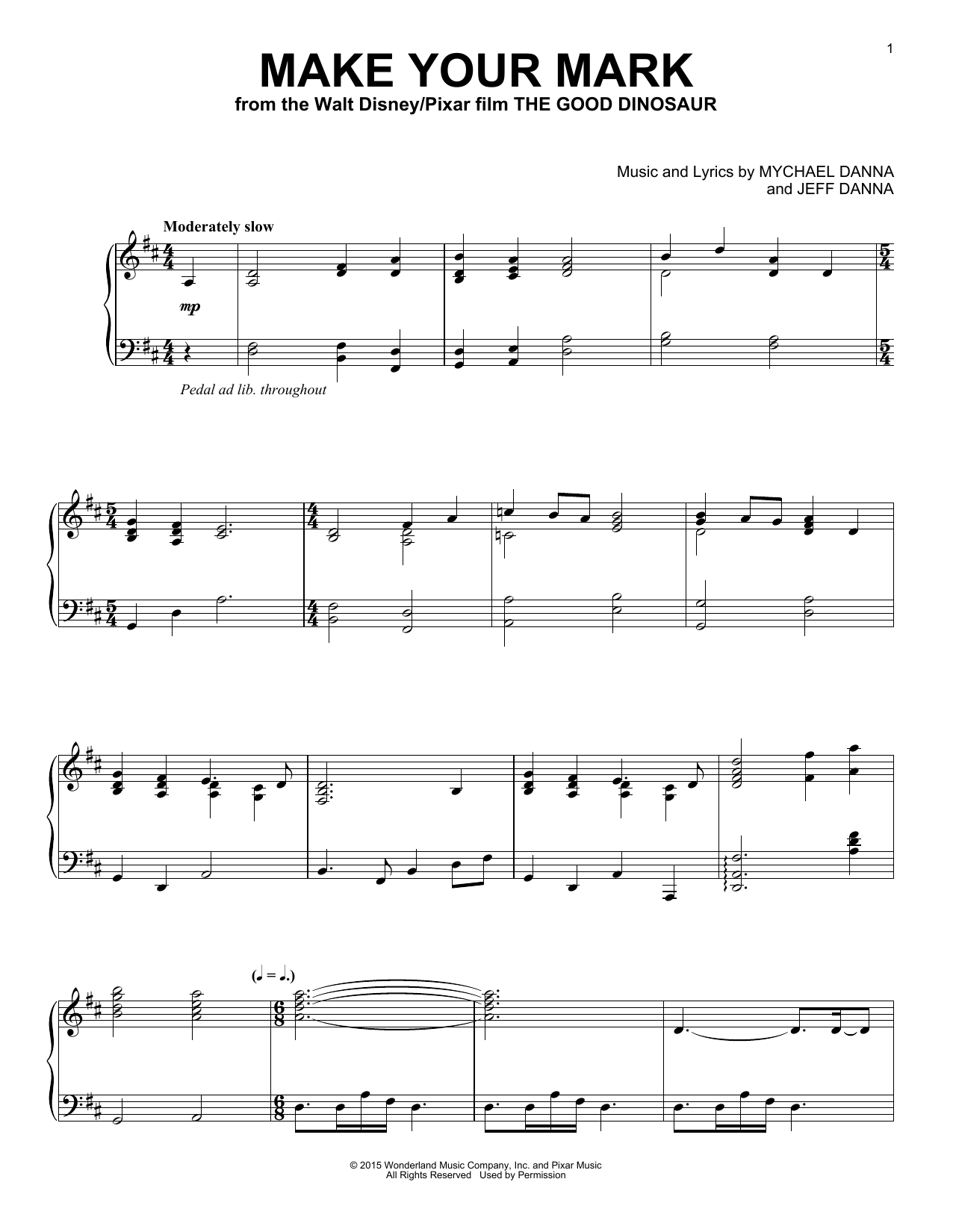 Mychael & Jeff Danna Make Your Mark sheet music notes and chords. Download Printable PDF.