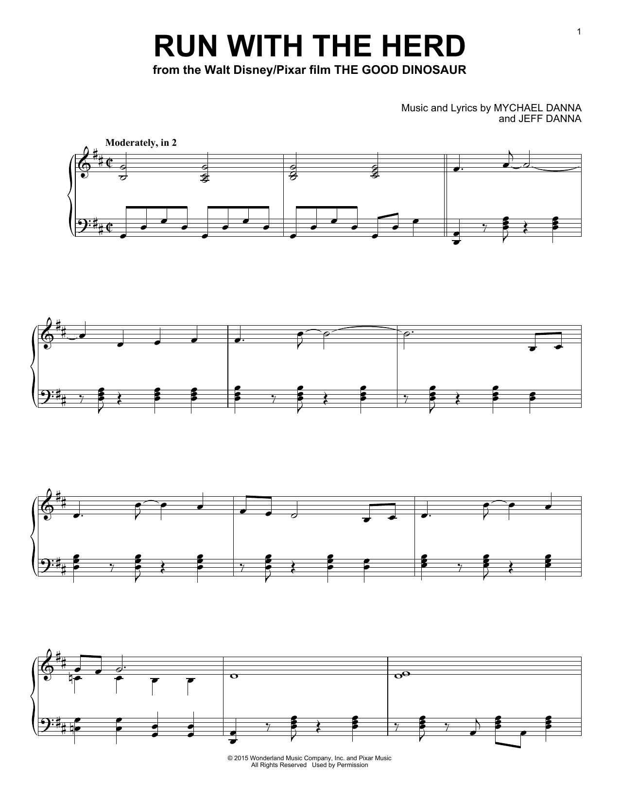 Mychael & Jeff Danna Run With The Herd sheet music notes and chords. Download Printable PDF.