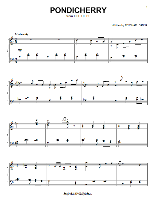 Mychael Danna Pondicherry sheet music notes and chords