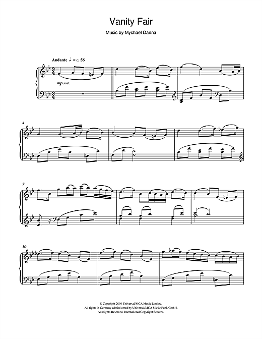 Mychael Danna Vanity Fair (She Walks In Beauty/Andante/Adagio/Vanity's Conqueror) sheet music notes and chords. Download Printable PDF.