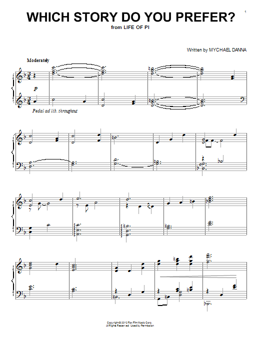 Mychael Danna Which Story Do You Prefer? sheet music notes and chords
