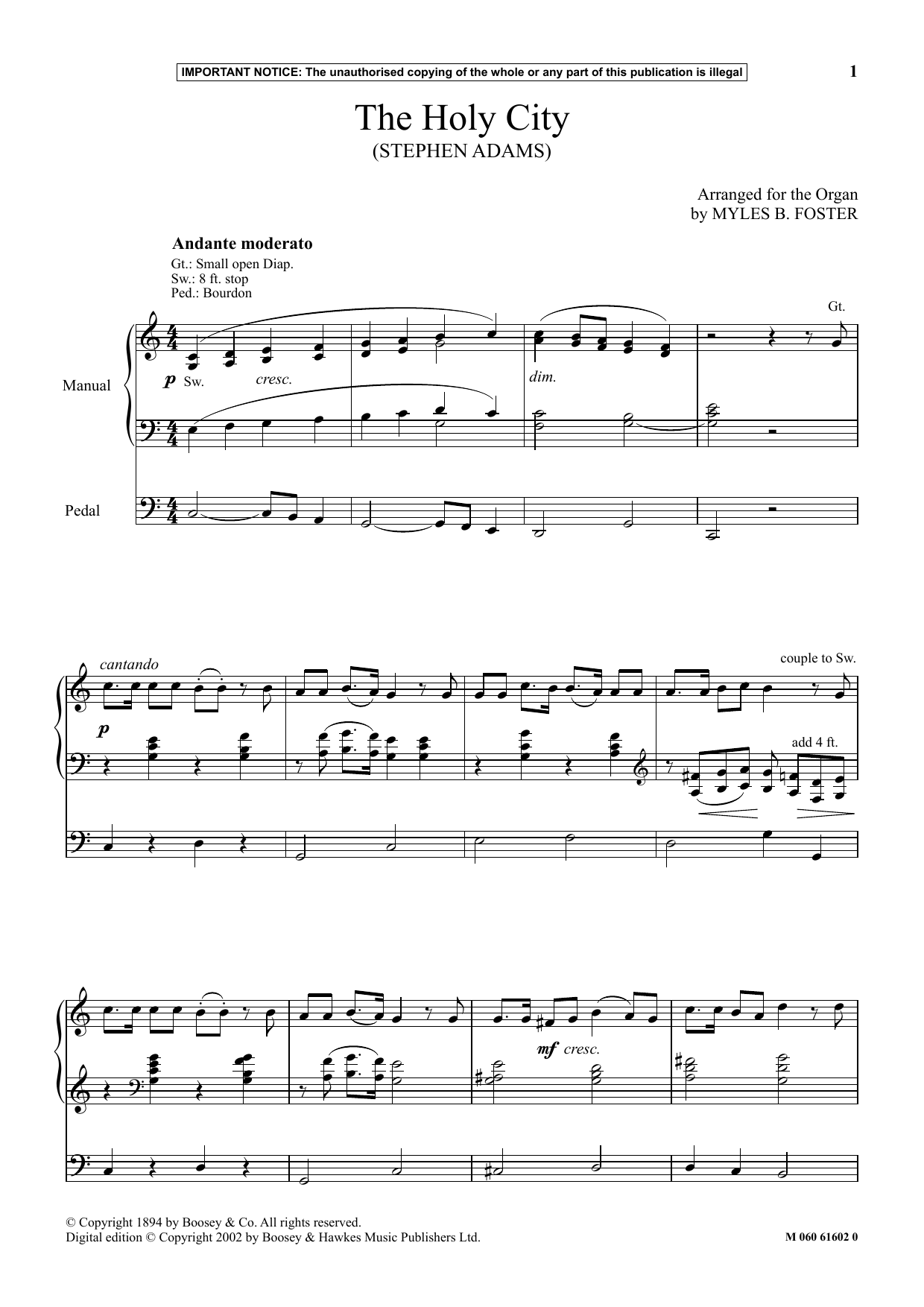 Myles B. Foster The Holy City sheet music notes and chords. Download Printable PDF.