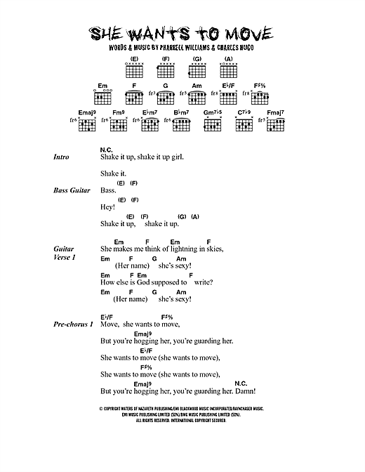 N*E*R*D* She Wants To Move sheet music notes and chords. Download Printable PDF.