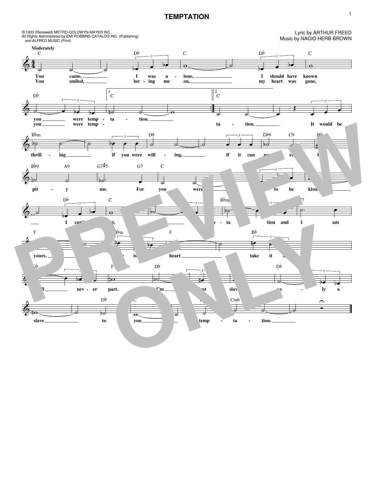 Nacio Herb Brown Temptation sheet music notes and chords. Download Printable PDF.