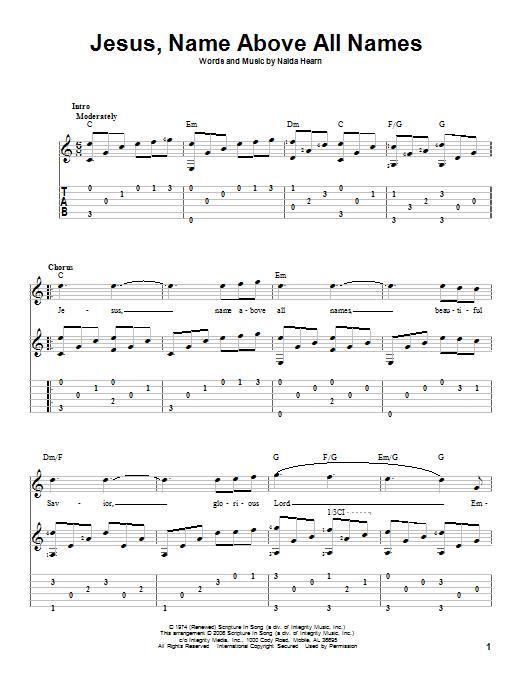 Naida Hearn Jesus, Name Above All Names sheet music notes and chords. Download Printable PDF.