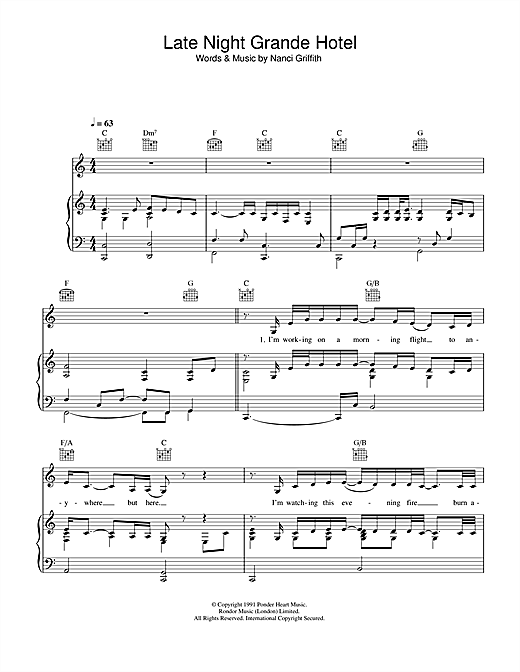 Nanci Griffith Late Night Grande Hotel sheet music notes and chords. Download Printable PDF.