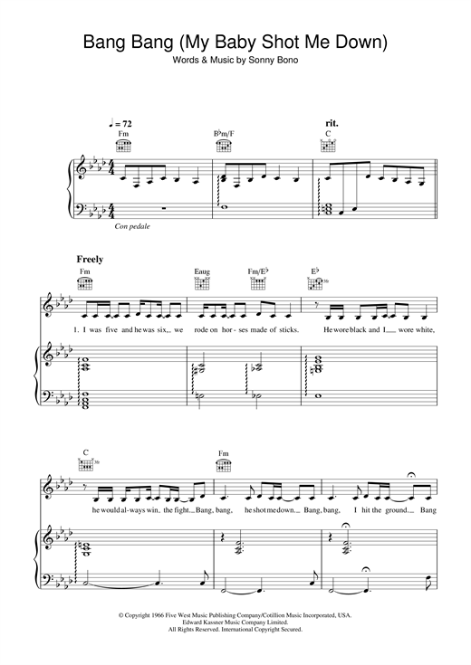 Nancy Sinatra Bang Bang (My Baby Shot Me Down) sheet music notes and chords. Download Printable PDF.
