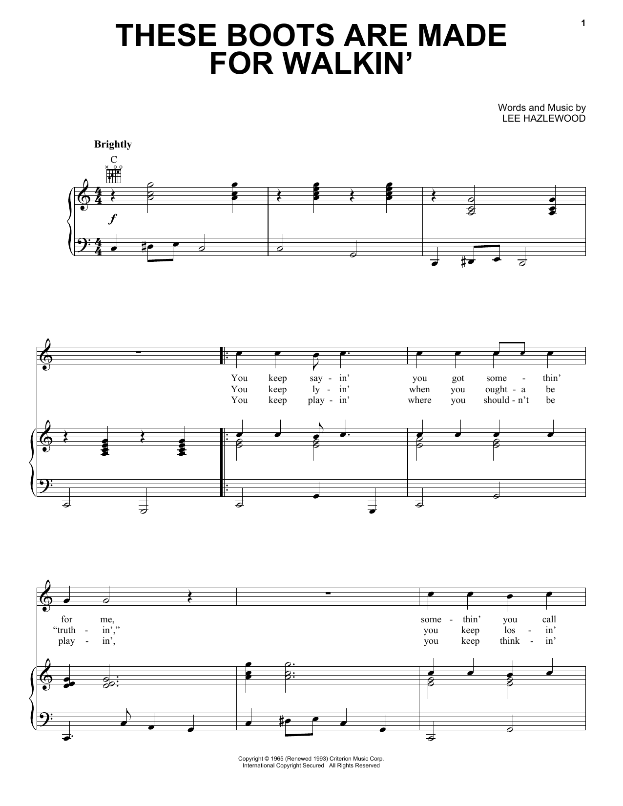 Nancy Sinatra These Boots Are Made For Walkin' sheet music notes and chords. Download Printable PDF.