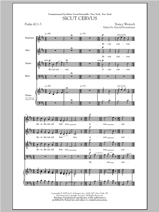 Nancy Wertsch Sicut Cervus sheet music notes and chords. Download Printable PDF.