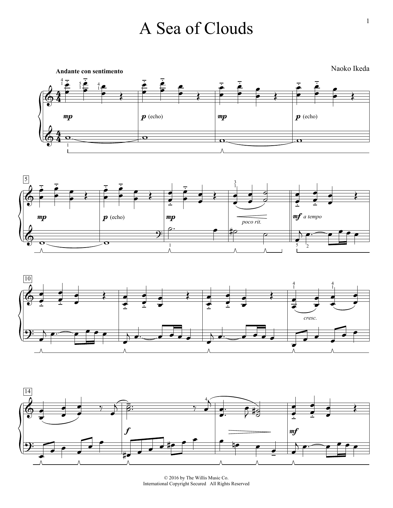 Naoko Ikeda A Sea Of Clouds sheet music notes and chords. Download Printable PDF.