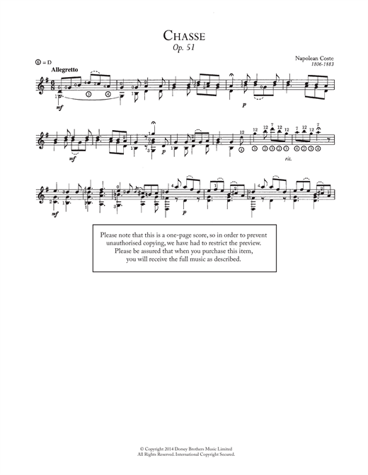 Napoleon Coste Chasse, Op.51 sheet music notes and chords. Download Printable PDF.