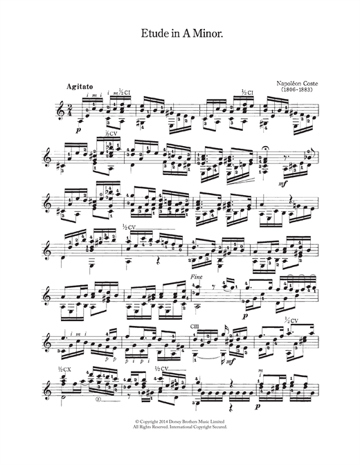 Napoleon Coste Etude In A Minor sheet music notes and chords