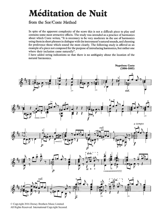Napoleon Coste Meditation De Nuit sheet music notes and chords. Download Printable PDF.
