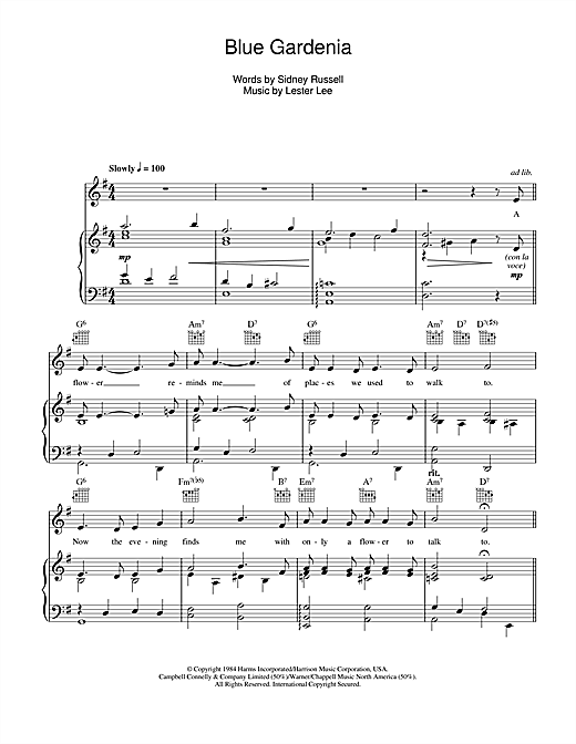 Nat King Cole Blue Gardenia sheet music notes and chords. Download Printable PDF.