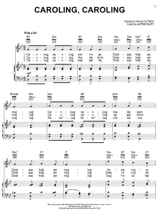 Nat King Cole Caroling, Caroling sheet music notes and chords. Download Printable PDF.