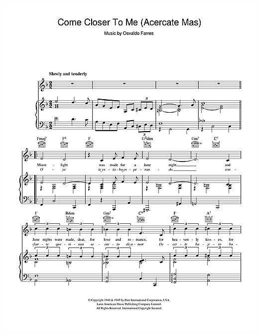 Nat King Cole Come Closer To Me (Acercate Mas) sheet music notes and chords. Download Printable PDF.