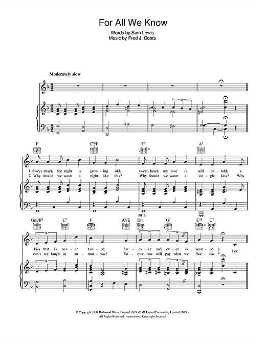 Nat King Cole For All We Know sheet music notes and chords. Download Printable PDF.