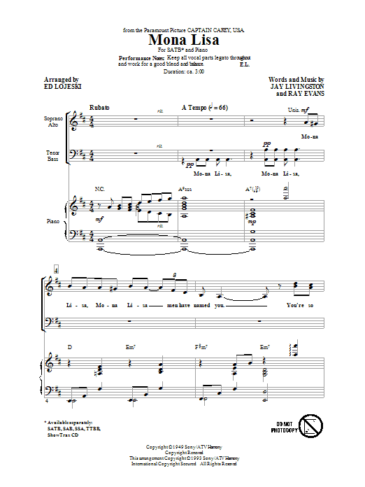 Nat King Cole Mona Lisa (arr. Ed Lojeski) sheet music notes and chords