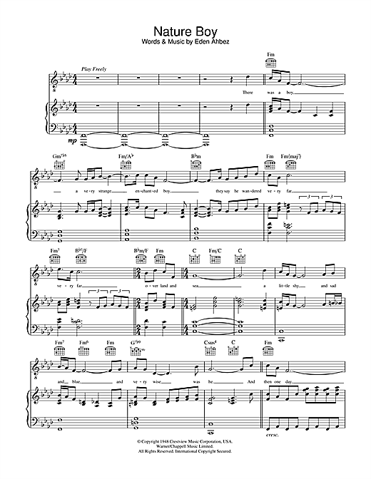 Nat King Cole Nature Boy sheet music notes and chords. Download Printable PDF.