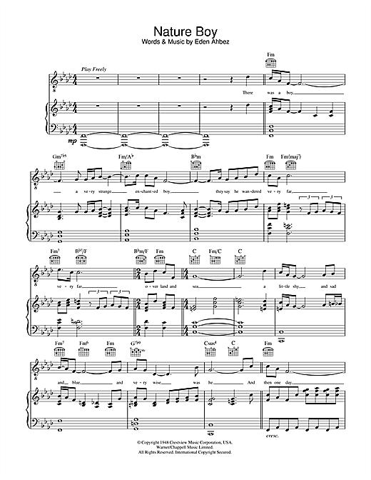 Nat King Cole Nature Boy Sheet Music Notes Chords Download Printable Piano Vocal Guitar Right Hand Melody Sku 32914
