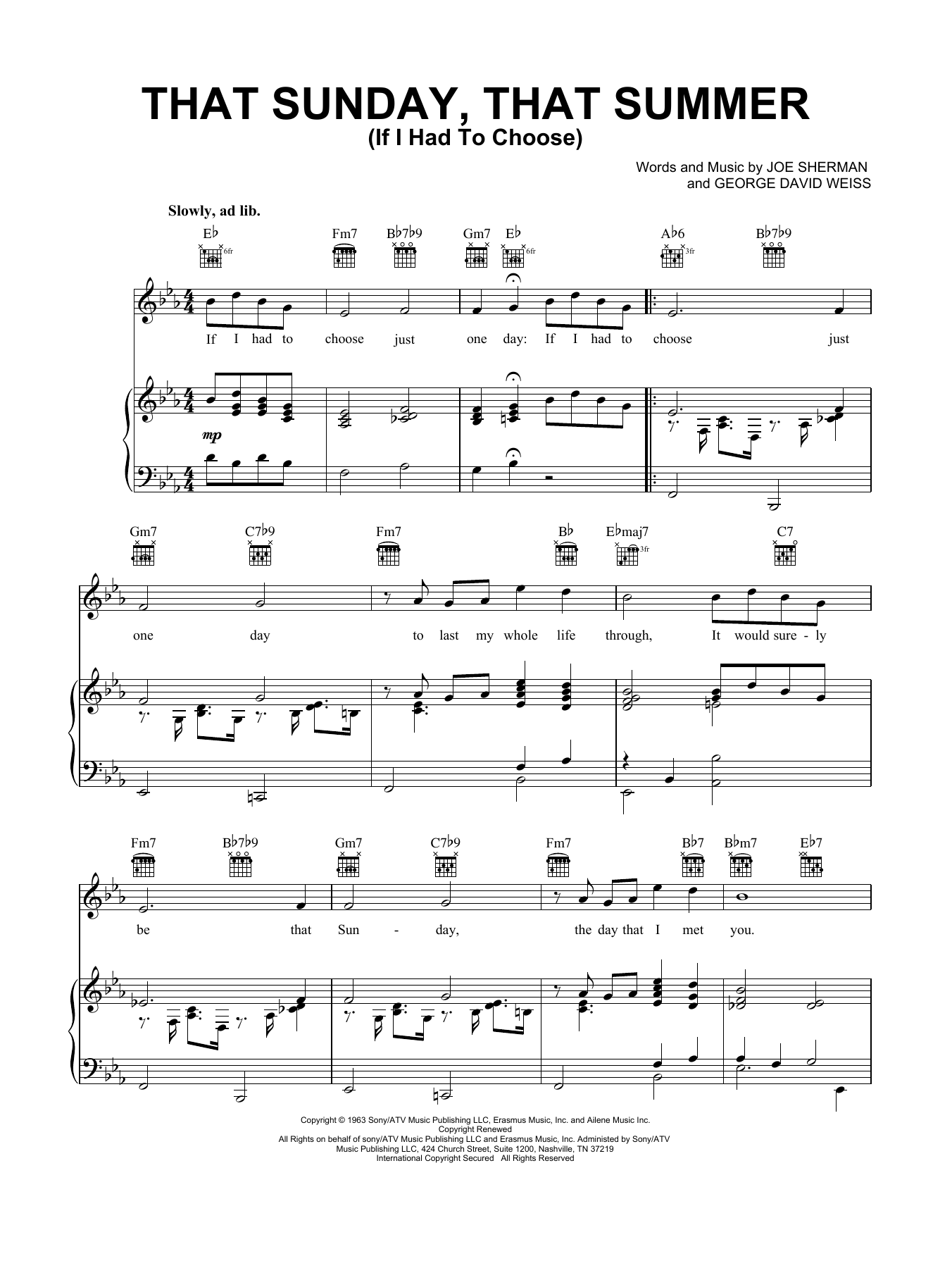 Nat King Cole That Sunday That Summer (If I Had To Choose) sheet music notes and chords