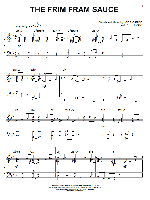 Nat King Cole The Frim Fram Sauce (arr. Brent Edstrom) sheet music notes and chords