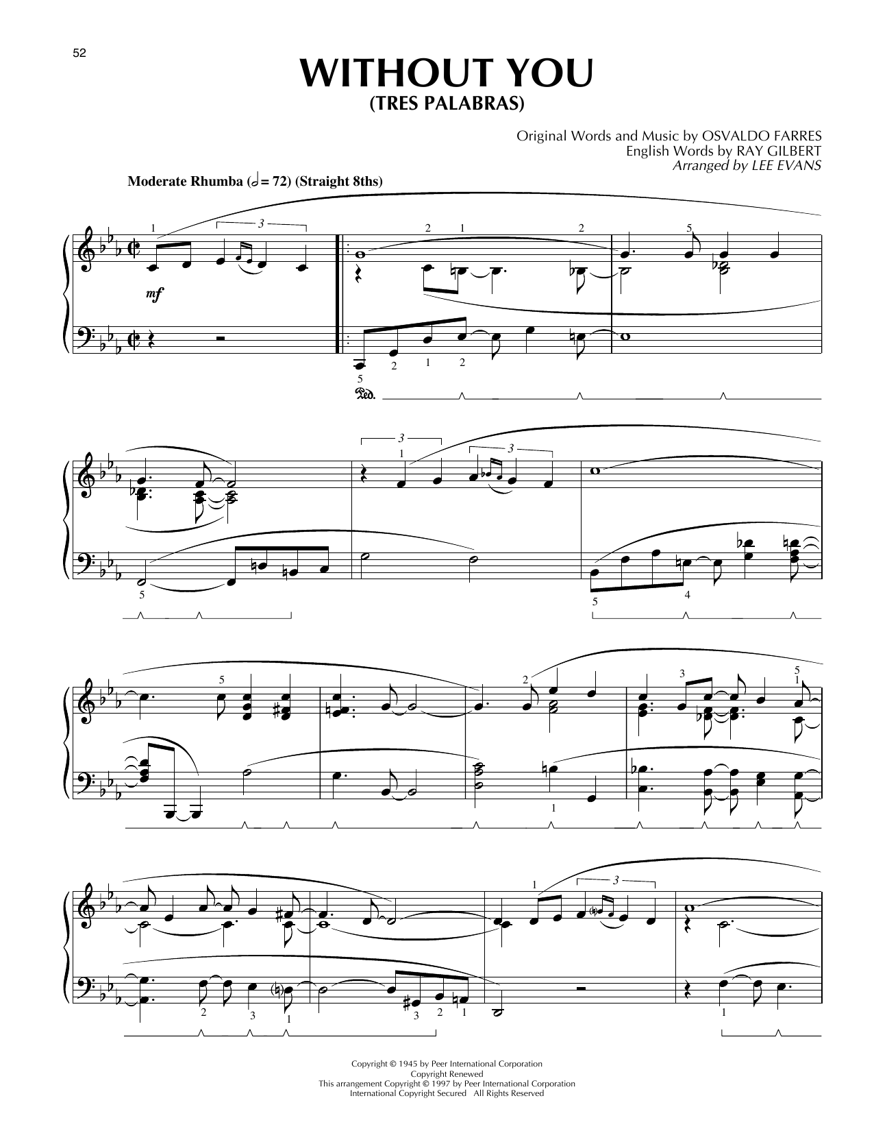 Nat King Cole Tres Palabras (Without You) sheet music notes and chords. Download Printable PDF.