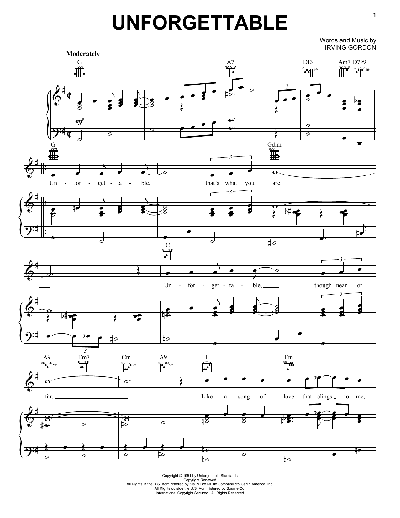 Nat King Cole Unforgettable sheet music notes and chords. Download Printable PDF.