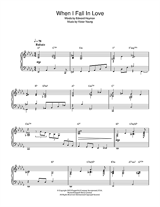Nat King Cole When I Fall In Love sheet music notes and chords