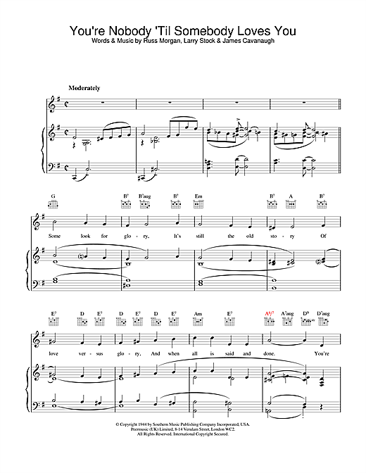 Nat King Cole You're Nobody Till Somebody Loves You sheet music notes and chords