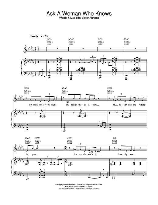 Natalie Cole Ask A Woman Who Knows sheet music notes and chords. Download Printable PDF.