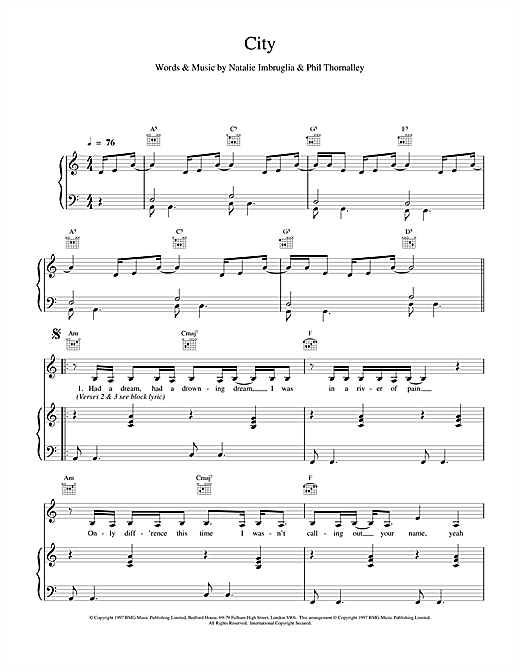 Natalie Imbruglia City sheet music notes and chords