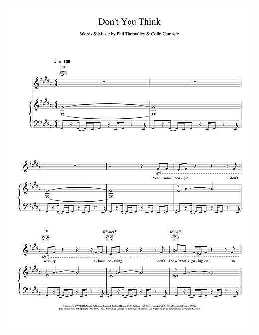 Natalie Imbruglia Don't You Think sheet music notes and chords