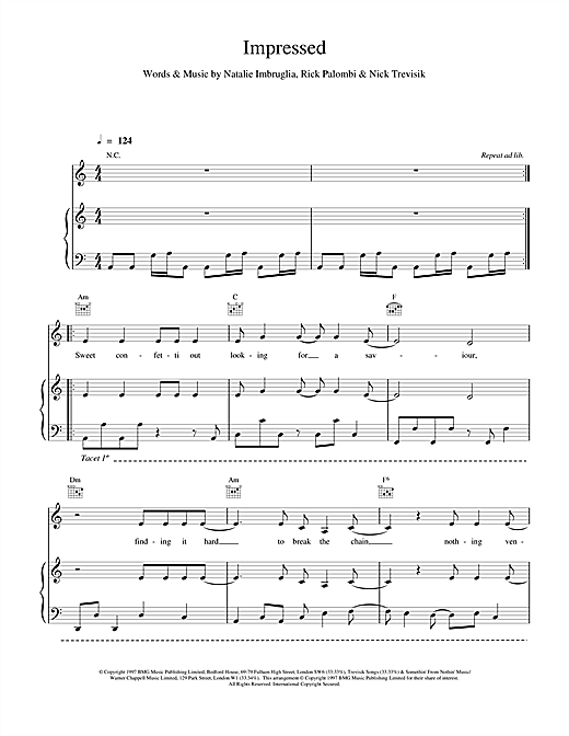 Natalie Imbruglia Impressed sheet music notes and chords. Download Printable PDF.