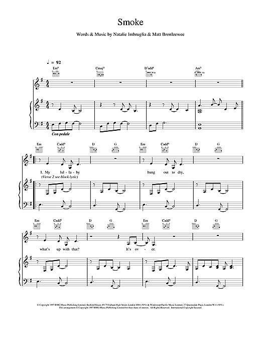 Natalie Imbruglia Smoke sheet music notes and chords. Download Printable PDF.
