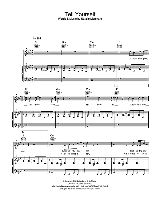 Natalie Merchant Tell Yourself sheet music notes and chords