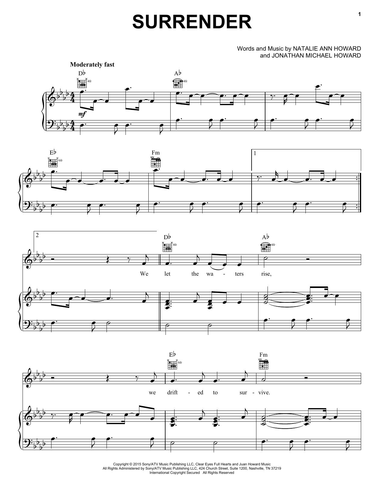 Natalie Taylor Surrender sheet music notes and chords. Download Printable PDF.