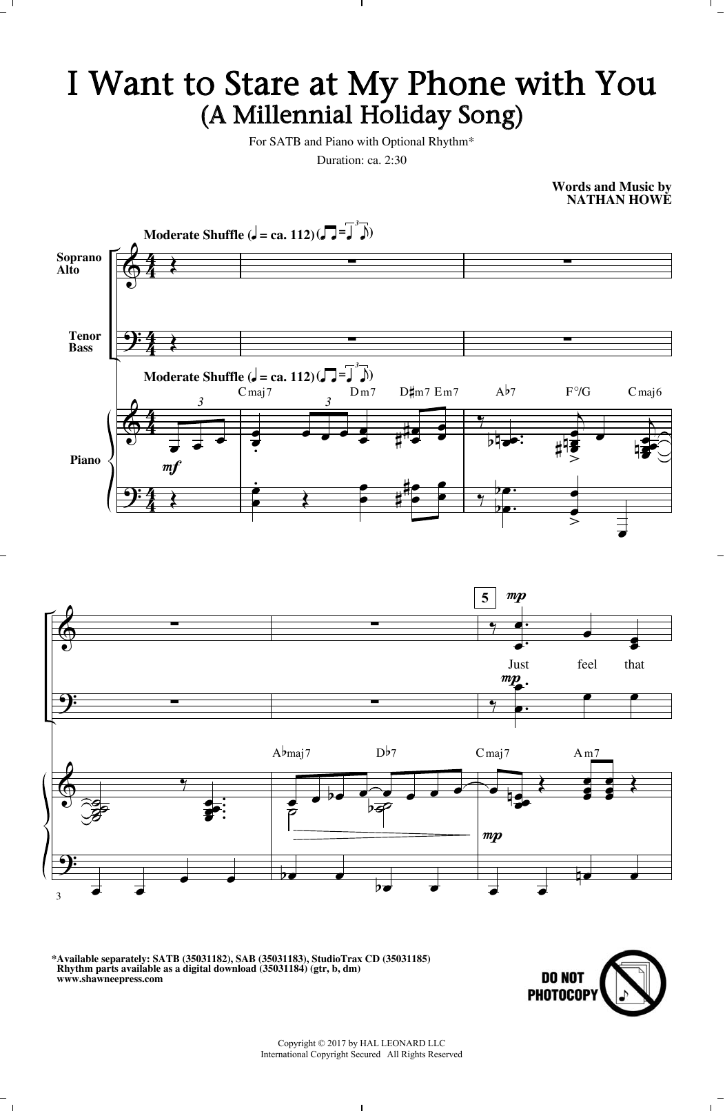Nathan Howe I Want To Stare At My Phone With You (A Millennial Holiday Song) sheet music notes and chords. Download Printable PDF.