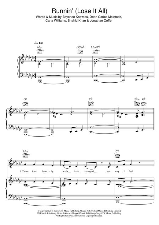 Naughty Boy Runnin' (Lose It All) (feat. Beyonce & Arrow Benjamin) sheet music notes and chords