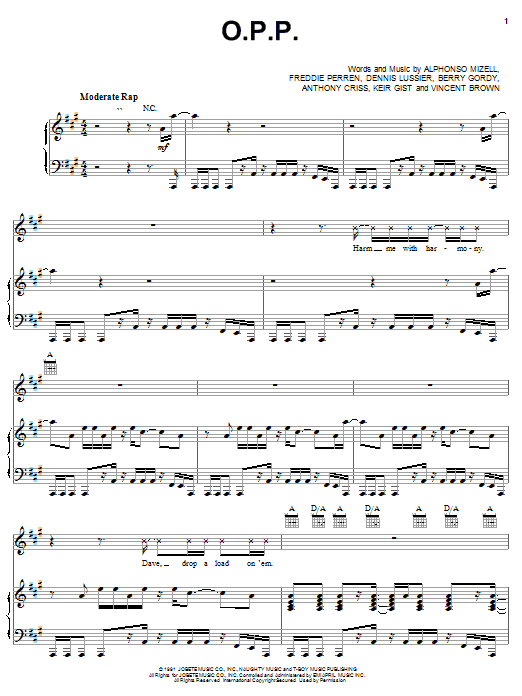Naughty By Nature O.P.P. sheet music notes and chords. Download Printable PDF.