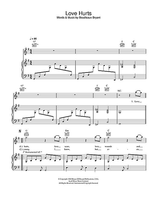 Nazareth Love Hurts sheet music notes and chords. Download Printable PDF.