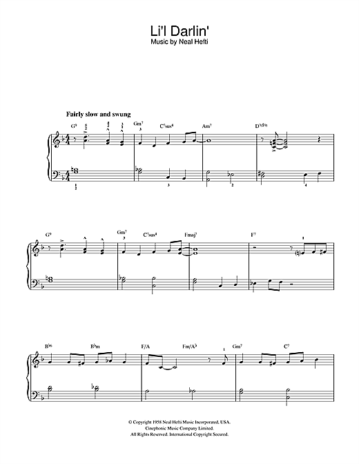 Neal Hefti Li'l Darlin' sheet music notes and chords. Download Printable PDF.